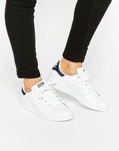 Женские белые с синим кроссовки adidas Originals Stan Smith - Белый
