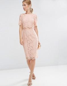 Кружевное платье-футляр миди с укороченным топом ASOS - Розовый