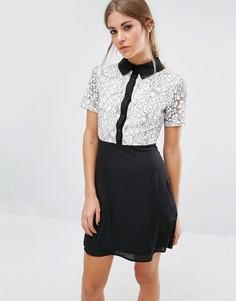 Платье с кружевным топом и контрастным воротником Fashion Union - Черный