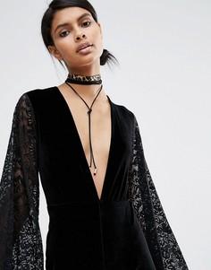Ярусное ожерелье-чокер с завязкой и леопардовым принтом Love Rocks - Черный