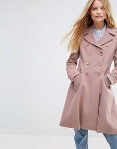Двубортное приталенное пальто ASOS - Розовый