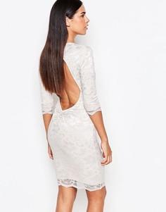 Облегающее кружевное платье с рукавами 3/4 Honor Gold - Бежевый