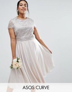 Приталенное платье миди с кружевным кроп-топом металлик ASOS CURVE - Серебряный