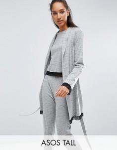 Халат с длинными рукавами и кружевной отделкой ASOS TALL - Серый