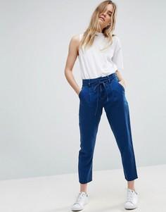 Брюки в джинсовом стиле с завязкой на талии ASOS - Синий