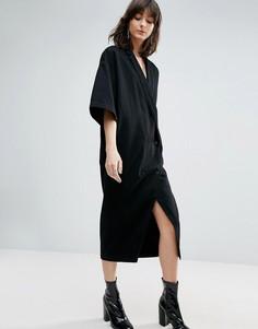 Черное джинсовое платье-кимоно на пуговицах ASOS WHITE - Черный