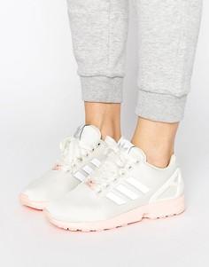 Белые кроссовки с розовой подошвой adidas Originals ZX Flux - Белый
