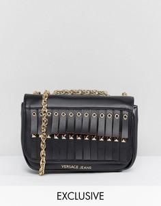 Сумка через плечо с бахромой и люверсами Versace Jeans - Черный