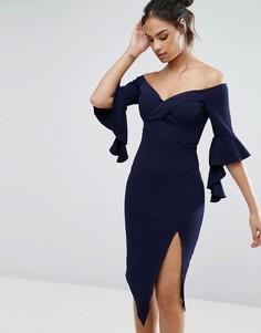 Платье миди с открытыми плечами и разрезом до бедра Ginger Fizz - Темно-синий