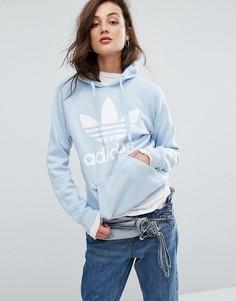 Синее худи бойфренда с логотипом-трилистником adidas Originals - Синий