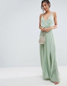Плиссированное платье макси ASOS - Зеленый