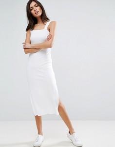 Платье-майка миди в рубчик ASOS - Белый