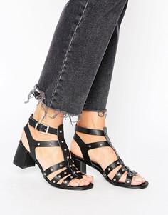 Сандалии-гладиаторы на каблуке с заклепками New Look - Черный