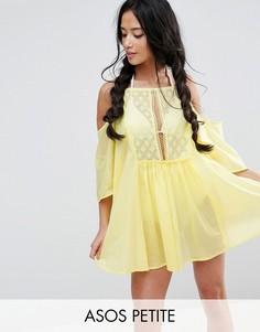 Кружевная пляжная туника с открытыми плечами ASOS PETITE - Желтый