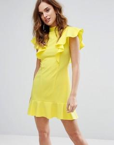 Платье с оборками и баской Closet London - Желтый
