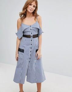 Платье в клеточку с карманами Millie Mackintosh - Синий