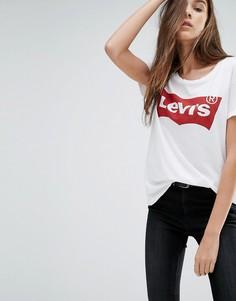 Футболка с логотипом в виде летучей мыши Levis Perfect - Белый
