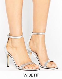 Серебристые босоножки на каблуке для широкой стопы Lost Ink - Серебряный