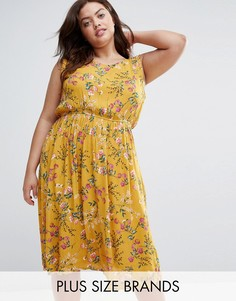 Платье с цветочным принтом Yumi Plus - Желтый