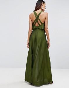 Платье макси с укороченным топом и бретелями сзади ASOS - Зеленый