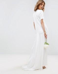 Платье-футболка макси с юбкой годе ASOS BRIDAL - Кремовый