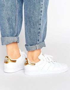 Золотисто-белые кроссовки adidas Originals Stan Smith - Белый
