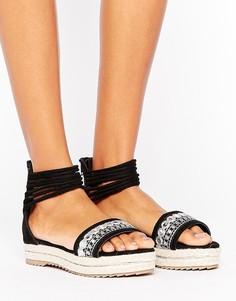 Сандалии на платформе с вышивкой и ремешками вокруг щиколотки Missguided - Черный