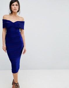 Платье-футляр миди с открытыми плечами Honor Gold - Синий