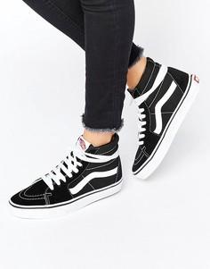 Высокие черные с белым кроссовки Vans - Черный