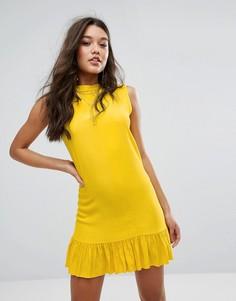 Свободное платье асимметричной длины Missguided - Желтый
