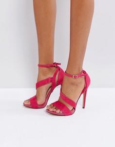 Розовые босоножки на каблуке с ремешками Lost Ink - Розовый