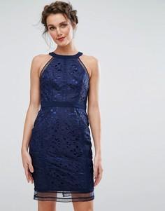 Кружевное платье-футляр с отделкой Chi Chi London - Темно-синий