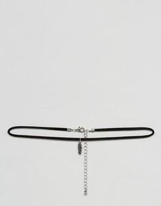 Черное замшевое ожерелье-чокер с подвеской в виде пера ASOS - Черный