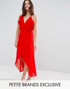 Платье миди асимметричной длины с оборками TD By True Decadence Petite - Красный