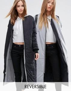 Двусторонняя удлиненная куртка ASOS - Серый