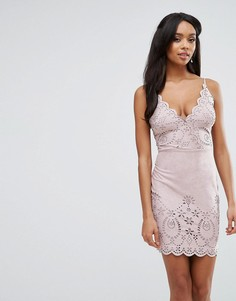 Платье-футляр из искусственной замши с лазерной отделкой Lipsy - Розовый