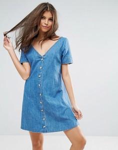 Синее джинсовое чайное платье на пуговицах ASOS - Синий