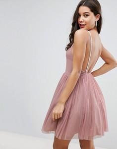 Тюлевое платье мини на бретельках с отделкой ASOS - Розовый