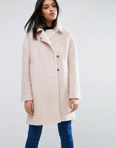 Пальто-кокон в стиле oversize с добавлением шерсти и текстурой букле ASOS - Розовый