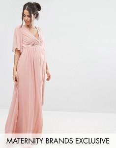 Платье макси с рукавами кимоно Little Mistress Maternity - Розовый