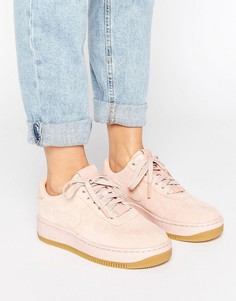 Розовые замшевые кроссовки премиум Nike Air Force 1 Upstep - Оранжевый