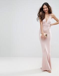 Платье макси с глубоким вырезом и плетеными бретелями ASOS - Розовый