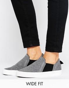 Трикотажные кроссовки-слипоны для широкой стопы New Look - Черный