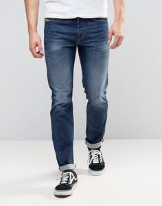 Темные прямые джинсы с выбеленным эффектом Diesel Buster 853R - Синий