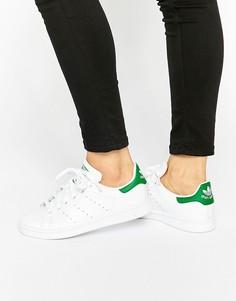 Женские бело-зеленые кроссовки унисекс adidas Originals Stan Smith - Белый