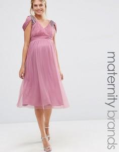 Платье миди с открытыми плечами для беременных Little Mistress Maternity - Фиолетовый