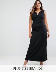 Платье макси с глубоким вырезом Missguided Plus - Черный