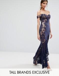 Кружевное платье макси с открытыми плечами и юбкой годе Jarlo Tall - Темно-синий