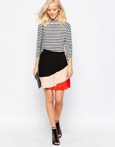 Плиссированная юбка колор блок Greylin - Красный