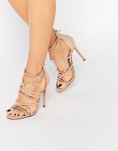 Босоножки на каблуке с узелками спереди Missguided - Розовый